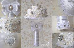 """Купить Свадебный букет """"Блеск жемчуга"""" - белый, айвори, свадебные аксессуары, свадебное украшение"""
