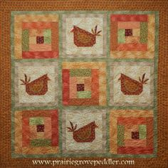 The Cabin Fever quilt pattern using the new Chicks on the Run fabric line by Benartex. It also uses Lady Dot Creates Mini Poms in Witchie. House Quilt Patterns, Easy Quilt Patterns, House Quilts, Christmas Quilting Projects, Christmas Quilt Patterns, Christmas Crafts, Hand Applique, Applique Quilts, Scrappy Quilts