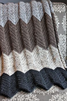 Crochet chevron blanket pattern.   neutral  & modern by Rescued Paw Designs