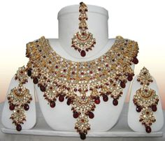 Indian Gold Tone Rich CZ Necklace Bridal Jewelry Jodha Akbar Set Burgundy - Bridal Ceremony