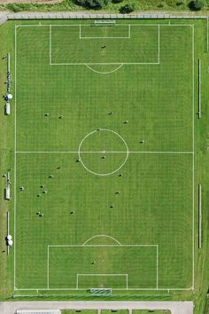 soccer field, part of a collection of aerial views photographed by Bernhard Lang