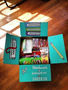 Finals Week Care Package... Favorite snacks, gift cards to restaurants on campus, pencils, index cards, and written letters.