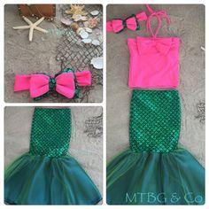 MEERJUNGFRAU MIRANDA Hot pink bescheiden Meerjungfrau-Top