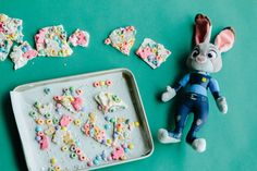 Celebrate animals living in harmony with this playful Zootopia cereal bark recipe filled with animals and bunnies alike!