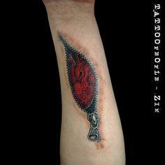 Heart in Zipper wrist tattoo