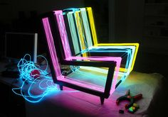 The Disco Chair by Kiwi & Pom encapsulates two of our favorite things here at TheCoolist– furniture and lighting.  The Disco Chair is a modern lounge chair that is strung with electroluminescent wire that is illuminated when powered.  The chair shines in a rainbow of color, and can be switched to a flash/pulse mode for a disco-style lighting effect.  We'll take four, please.  Nice work, Kiwi!