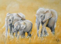 Tableau d'une famille d' éléphants d'Afrique en marche dans la savane @peintures-axelle-bosler : Peintures par peintures-axelle-bosler