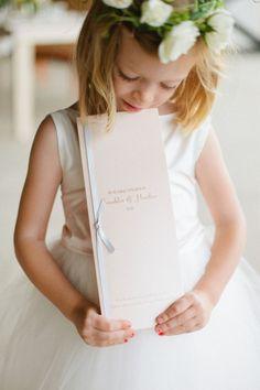 The program is bigger than the flower girl! http://www.stylemepretty.com/virginia-weddings/charlottesville/2013/11/27/art-deco-inspired-charlottesville-wedding-from-morgan-trinker/ | Photography: Morgan Trinker - http://morgantrinker.com/