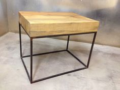 Rustic Modern Beam Wood Top and Steel Base Side Table