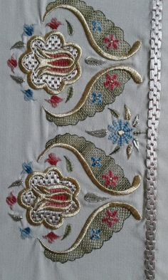 This Pin was discovered by Neş Embroidery Motifs, Embroidery Suits, Embroidery Needles, Hand Embroidery Designs, Machine Embroidery, Brazilian Embroidery, Bargello, Cutwork, Baby Knitting Patterns