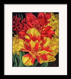 Fiona Craig Framed Print featuring the painting Tulipomania 14 Red And Yellow by Fiona Craig