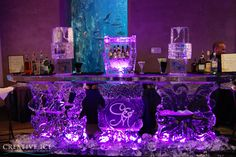 An Octopus themed ice bar for a wedding reception at the Seattle Aquarium.