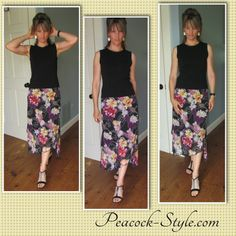 #FashionOver40 I still stick to skirts for summer and spring fashion.  They leave for lots of options.  Flower skirt black top.