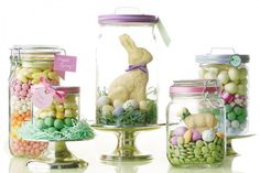Easter display, in jars. Great for Easter table, and then you get to take them away as your Easter gift. Easter Candy, Hoppy Easter, Easter Treats, Easter Gift, Easter Eggs, Easter Decor, Easter Centerpiece, Easter Table, Candy Centerpieces