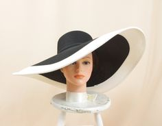 Extra Wide Brim Hat * Adjustable White and Black Hat * Kentucky Derby Hat * Black Floppy Hat * Church Hat * Ascot Hat * Formal Hat by englishrosedesignsoh on Etsy
