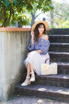 spring outfit, off the shoulder gingham top, gingham outfit. floral straw bag, white espadrille wedges, pink tulle skirt, picnic outfit, summer style