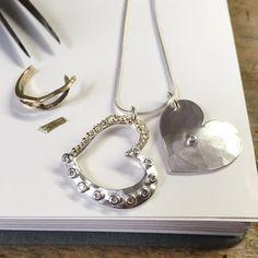 Honeybourne Jewellery . Bespoke . Upcycle . Pendant . Neckpiece . Silver . Gold . Double Diamond Heart Neckpiece