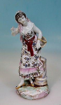 Frühe Porzellanfigur Frau Gärtnerin Volkstedt Rudolstadt, 17 cm
