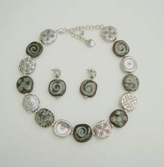 Kenya Necklace Earring Set Kazuri Bali Beads Designer Signed Fair Trade Jewelry