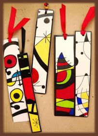 Bookmarks in the style of Joan Miró Club D'art, Art Club, Arte Elemental, Classe D'art, 5th Grade Art, Ecole Art, School Art Projects, Diy Projects, Art Lessons Elementary