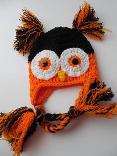 Owl Hat - Halloween - Baby Hat - Black and Orange - Handmade Crochet - Made to Order (24.00 USD) by ShelleysCrochetOle
