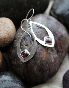 Sterling Silver Square Garnet Earrings by KMallaby on Etsy
