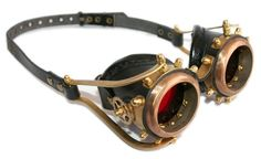 Steampunk Goggles - made from solid brass & black leather gears. Ride your VESPA with style!!!