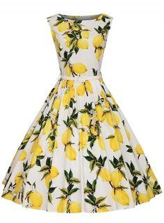 #BFCM #BlackFriday #CyberMonday #Oasap.com - #Roawe Women's Vintage Sleeveless Lemon Printed Swing Midi Dress - AdoreWe.com