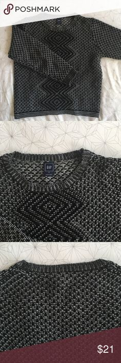 GAP THICK Geometric Sweater For me it is ALWAYS sweater weather - this sweater is brand new and HECKA thick and cozy, perfect on its own on a cold day or for pulling on over you button-down when the AC at work is cranked way up. I love the cozy fit and Geometric-type pattern! 53% wool 47% polyester GAP Sweaters Crew & Scoop Necks