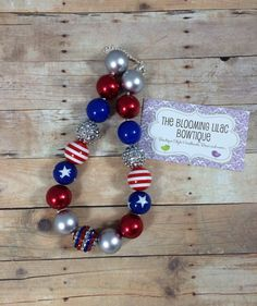 Fourth of July Chunky Bubblegum Necklace - Photography Prop - Fits 6 Months to 7 Year Olds - Memorial Day - Labor Day on Etsy, $15.95