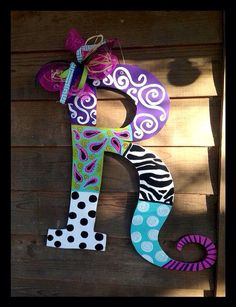 Wooden Initial/ Letter Door/Wall hanger by SimplyShabbyByBella Wooden Block Letters, Painting Wooden Letters, Diy Letters, Letter A Crafts, Painted Letters, Diy Decorate Letters, Decorated Wooden Letters, Design Letters, Large Letters