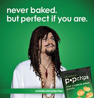 """5-2-2012 Popchips ad campaign portrays four faces of Ashton Kutcher, the brand's """"president of pop culture"""""""