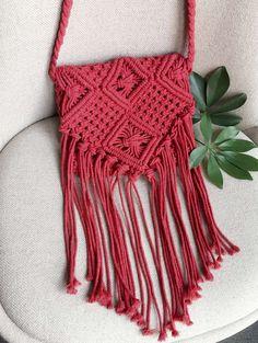 Red Crochet Fringe Crossbody Bag
