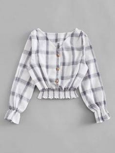 Shop Single Breasted V Neck Plaid Blouse online. ROMWE offers Single Breasted V Neck Plaid Blouse & more to fit your fashionable needs.This paired with skinny jeans and booties would be so cute for fall!Shop [good_name] at ROMWE, discover more fashio Girls Fashion Clothes, Teen Fashion Outfits, Mode Outfits, Hijab Fashion, Korean Fashion, Girl Fashion, Girl Outfits, Fashion Dresses, Crop Top Outfits