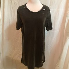 Brandy Mellville distressed T-shirt dress Great condition- never worn, can wear as a dress or just a long comfy tee. Super soft! Brandy Melville Tops Tees - Short Sleeve