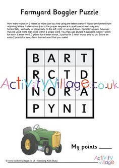 """Boggler puzzles can be enjoyed by a range of ages and this farmyard boggler puzzle is perfect for any sort of farm topic. There are a number of farm-themed words hidden in the puzzle as a """"bonus"""" for the kids to find. Tractor Coloring Pages, Colouring Pages, Tractor Crafts, Tractors For Kids, Kids Word Search, English Games, Puzzles For Kids, Farm Yard, Crafts For Kids"""