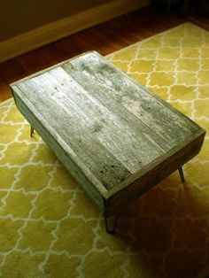 Barnwood coffee table- even comes in custom sizes. LOVE. Maybe even with a paint color sanded down too.