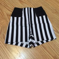 Charlotte Russe high waisted striped shorts Only wore once! Perfect condition! Black and white striped Charlotte Russe Shorts