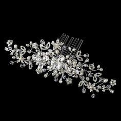 Silver Freshwater Pearl, Crystal & Rhinestone Hair Comb 9900