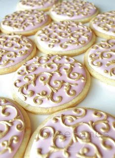 Pink and Gold Filigree Cookies with tutorial on how to paint royal icing using luster dust Bachelorette cookies Fancy Cookies, Iced Cookies, Cute Cookies, Royal Icing Cookies, Cupcake Cookies, Sugar Cookies, Cupcakes, Biscuits, Wedding Cookies
