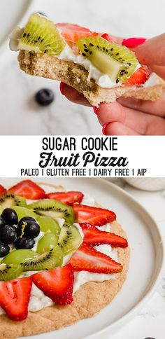 This sugar cookie fruit pizza is a seriously decadent and delicious treat! It's perfect for parties cookouts and sharing with family and friends. This sugar cookie is allergen friendly paleo gluten free egg free nut free and AIP. Fruit Pizza Cups, Fruit Pizza Frosting, Mini Fruit Pizzas, Easy Fruit Pizza, Healthy Recipes, Healthy Fruits, Paleo Fruit, Healthy Food, Healthy Deserts