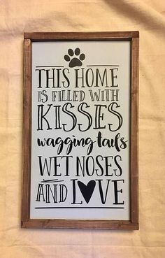 Dogs Home Wood Sign, sign, wood sign, Rustic Sign, wall decor, shabby chic, dog sign, dog house
