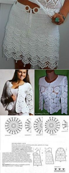 Crochet Patterns Skirt Here there is a nice women crochet jacket and women crochet skirt. Débardeurs Au Crochet, Gilet Crochet, Crochet Shrug Pattern, Crochet Jacket, Crochet Woman, Crochet Cardigan, Irish Crochet, Crochet Stitches, Crochet Patterns