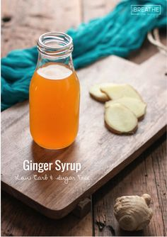 A versatile low carb ginger syrup that can be used for cocktails, teas, soups, curries and even baked goods! Low Carb Drinks, Low Carb Desserts, Low Carb Recipes, Cooking Recipes, Baking Desserts, Free Recipes, Dessert Recipes, Diabetic Desserts, Healthy Recipes