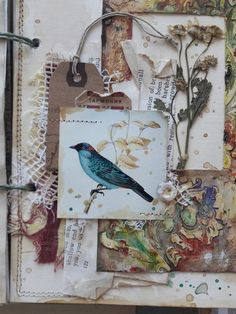 Keep neutral background with one colorful element -- bird/flower/etc Mixed Media Journal, Mixed Media Collage, Collage Art, Art Collages, Word Collage, Junk Journal, Art Journal Pages, Art Journals, Paper Art