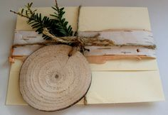 <3  Country style Birch Ribbon and Wooden Disc Tag Gift Wrap Package Presentation