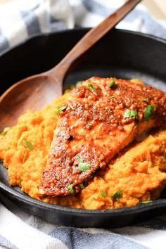 Maple Mustard Glazed Salmon with Sweet Potato Mash | @wickedspatula