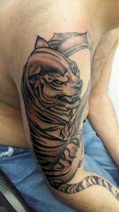 Tiger by Federico Nicolaci #tattoo  #artskin #artskintattoo #federiconicolaci #artskinicolaci #statuetattoo #tiger