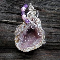SCHMANCY - Silver Wire Wrapped Geode Druzy Crystal Pendant by Care More, via Flickr