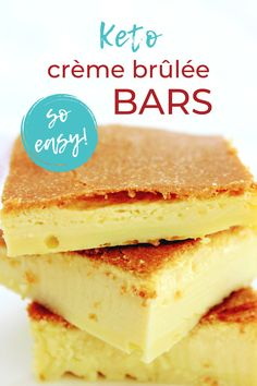 You won't believe how easy this scrumptious keto dessert is! Easy keto crème brûlée bars are made with just 6 simple ingredients and is ready to go into the oven in 5 quick minutes. If you're intimidated by crème brûlée, start with these super easy bars! This keto crème brûlée recipe is low carb, sugar free, gluten free, diet friendly, and crustless. It's also quick and easy to throw together and tastes great. Keto Desserts, Dessert Recipes, Dream Recipe, Low Carb Deserts, Creme Brulee, Low Carb Recipes, Sugar Free, Super Easy, Oven